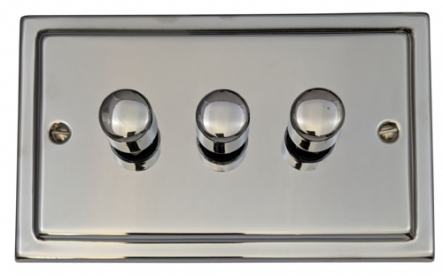 G&H TC13 Trimline Plate Polished Chrome 3 Gang 1 or 2 Way 40-400W Dimmer Switch